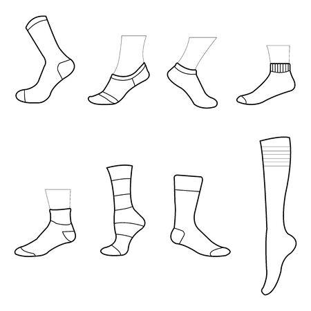 chaussette clipart chaussette dessin chaussette icône symbole isolé sur fond blanc illustration vectorielle