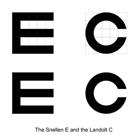 An ideal image of the Snellen E and the Landolt C obtained in the central fragment of the imaging plane