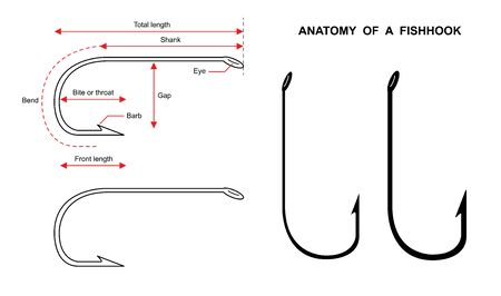 Anatomy of a fish hook Fish hook isolated on white background vector illustration