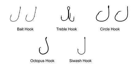 Types of Fishing Hooks isolated on white background vector illustration