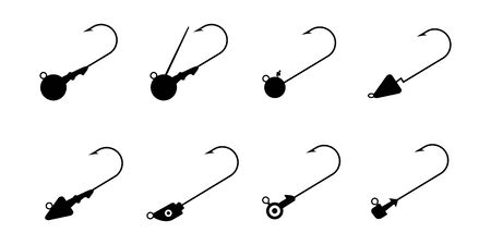 Set of Jig Head Hook isolated on white background vector illustration Illustration