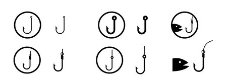 set of Icon Fishing Hooks symbol of Fishing Hooks isolated on white background vector illustration