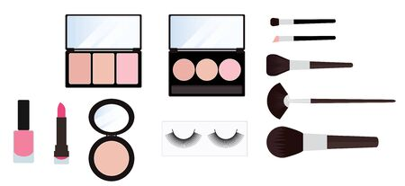 make up kit cosmetics set on white background vector Иллюстрация