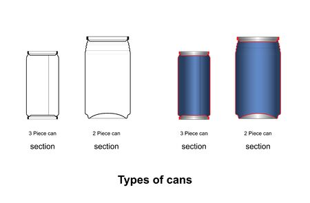 2 Piece Cans and 3 Piece Cans can mockup  can beverage can food can on white background Ilustração