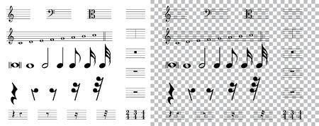musical symbols , Elements of musical symbols, icons and annotations. vector Ilustração