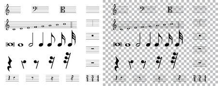 musical symbols , Elements of musical symbols, icons and annotations. vector Illustration