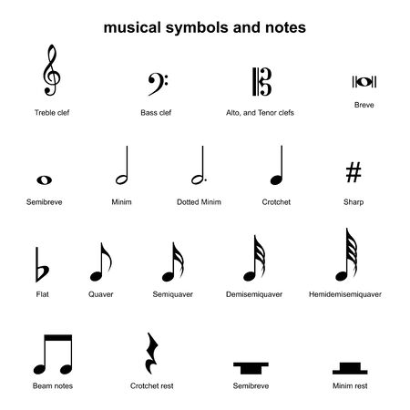set of musical symbols , Elements of musical symbols, icons and annotations. vector Illustration