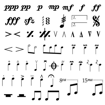 set of musical symbols , Elements of musical symbols, icons and annotations. vector Ilustração