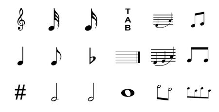 musical symbols , Elements of musical symbols, icons and annotations. set of music symbol Illustration