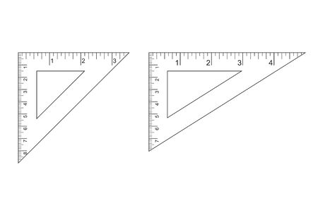 Triangle Ruler Square Set. Plastic School Drafting Drawing Right Angle Triangle Ruler. plastic triangular ruler  right angle  isosceles triangle 向量圖像