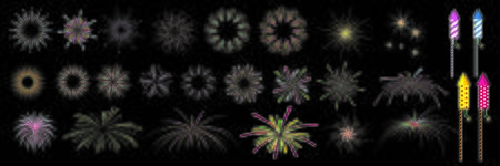 festival colorful fireworks and fireworks rockets for greeting card and party poster.Celebration and cheerful holiday.