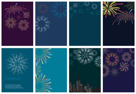 festival colorful fireworks and fireworks rockets for greeting card and party poster. Celebration and cheerful holiday