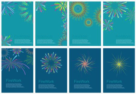 festival colorful fireworks and fireworks rockets for greeting card and party poster.Celebration and cheerful holiday