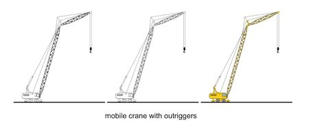 Tower Crane Components, modern mobile crane with outriggers.  Crane graphic. Crane clipart on white background. 向量圖像