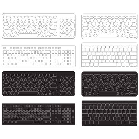 Computer Keyboard Blank Template Set.