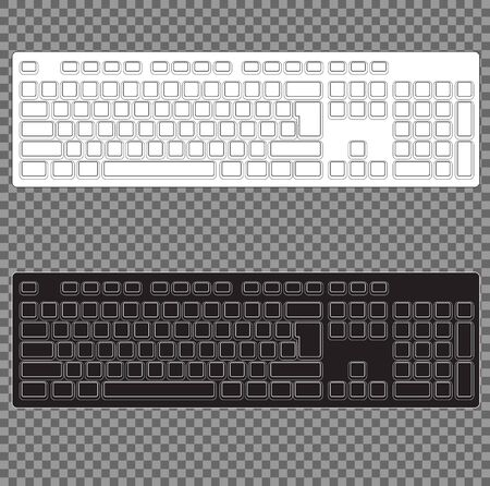 Computer Keyboard Blank Template Set. on transparent background. 向量圖像