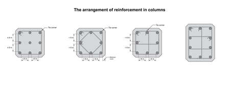 Reinforcement arrangement in square  columns on white background vector. Reinforcement arrangement in square  columns drawing Çizim