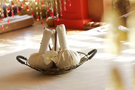 Spa massage, herbal ball and treatments spa in Thailand Stock Photo
