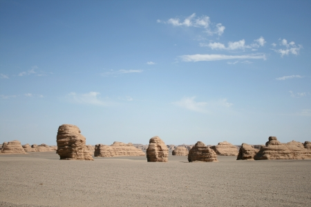 jiayuguan pass tower: Yadan landform in Gobi Desert, Dunhuang China