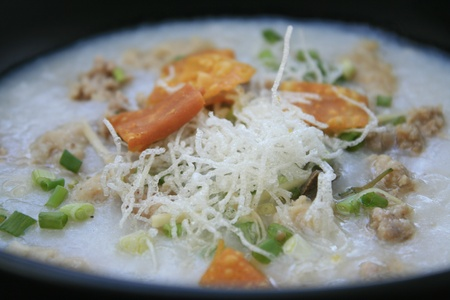Thai cusine, breakfast, congee with pork photo