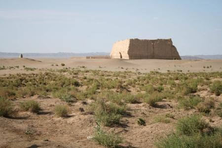 Yumen Guan pass, Gobi desert Dunhuang China Stok Fotoğraf