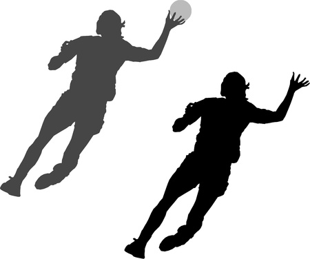 olympic stadium: black silhouette of handball player