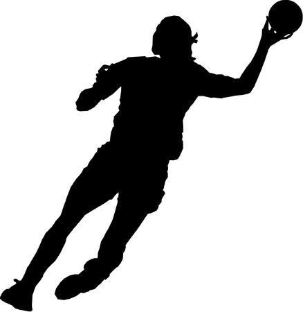 terrain de handball: Isolé féminine de handball joueur