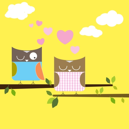 Cartoon owls in love background Illustration
