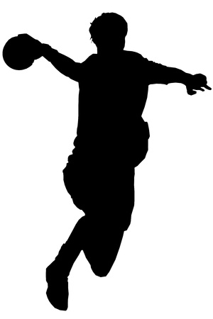 Isolated female handball player Vector