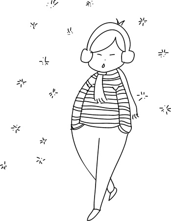 chill: freehand sketch cartoon girl relax walking in the winter season;  black and white