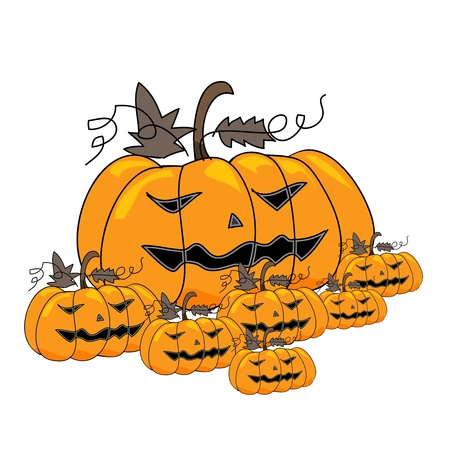 death s head: cartoon scary pumpkins halloween hand sketch, illustration