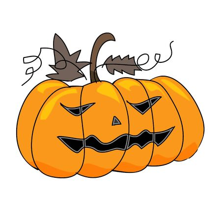 cartoon scary pumpkins halloween hand sketch, illustration Vector