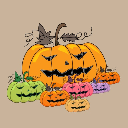 cartoon scary pumpkins halloween hand sketch, illustration Stock Vector - 15706217