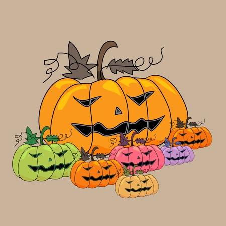 spider' s web: cartoon scary pumpkins halloween hand sketch, illustration