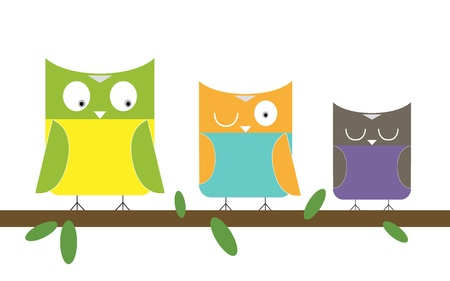 3 Owls family Vector
