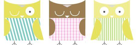 3 owls cartoon Stock Photo - 15706210