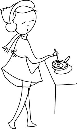 early in the evening: freehand sketch cartoon girl cooking, illustration
