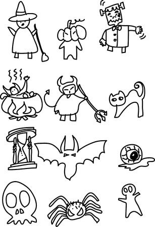spider' s web: hand draw halloween cartoon vector