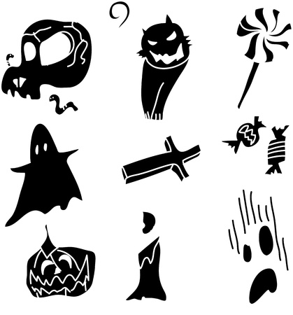 death s head: hand draw halloween cartoon vector