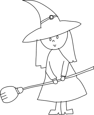 hand draw halloween witch cartoon vector Vector