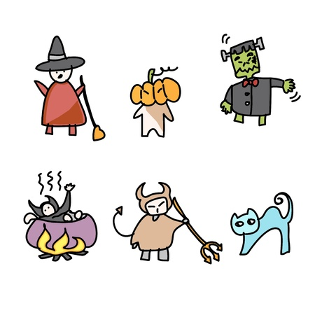 hand draw halloween cartoon vector Vector