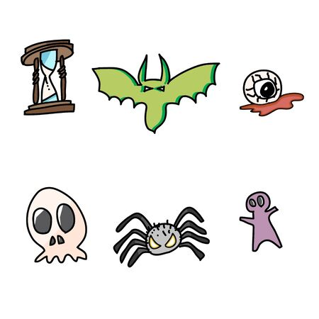 hand draw halloween cartoon vector