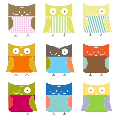 cartoon 9 owls set colorful Illustration