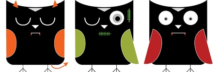 halloween character in owls graphic set Vector
