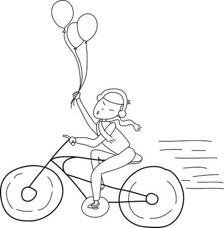 fille de bande dessinée à main levée croquis détendez-vous à cheval sur l'illustration de bicyclette