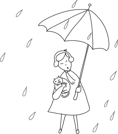 man standing alone: freehand sketch cartoon girl relaxing under the rain illustration Illustration