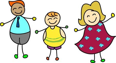 familia animada: caricatura dibujado mano familia feliz