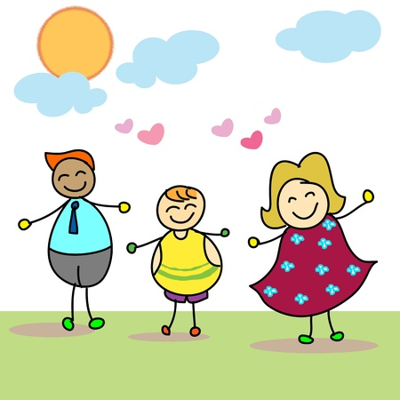 blue sky thinking: happy family welcome new baby hand drawn Illustration