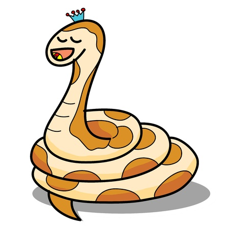 prince of peace: cartoon snake hand drawn symbol of the new year 2013 illustration