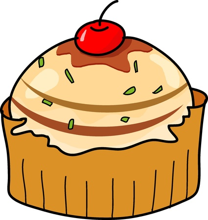 cup cake hand drawn illustration Stock Vector - 15861017